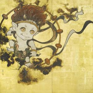 """鈴木 博雄 """"風神坊雷神坊図屏風 雷神坊(左隻)"""" 2016"""