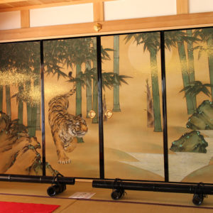 "Taguchi Yuka ""Sliding door painting Tiger in Bamboo grove"" 2017"