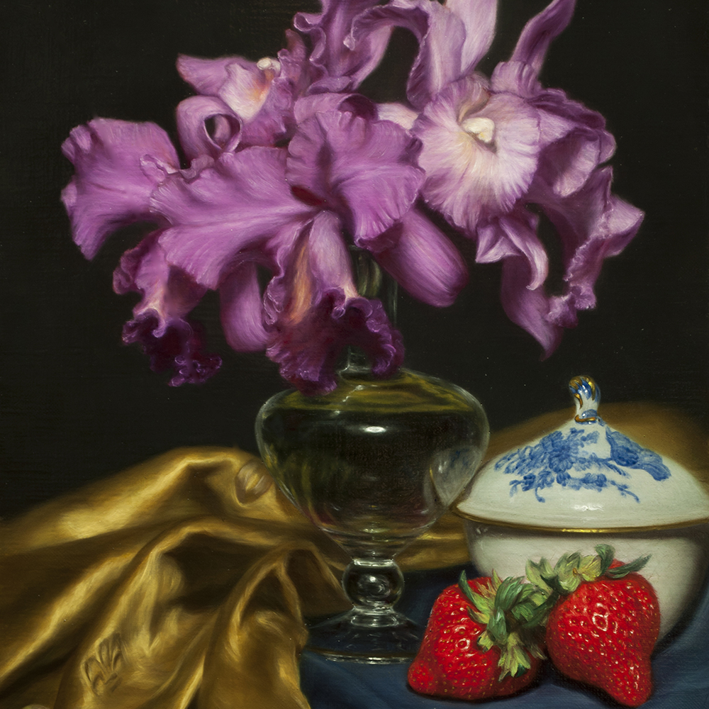 "Mishima Tetsuya ""Golden Colored Still-life (Cattleya and Strawberry)"" 2018"