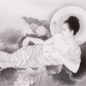 """木村 了子 """"水墨蓮池寝仏図"""""""